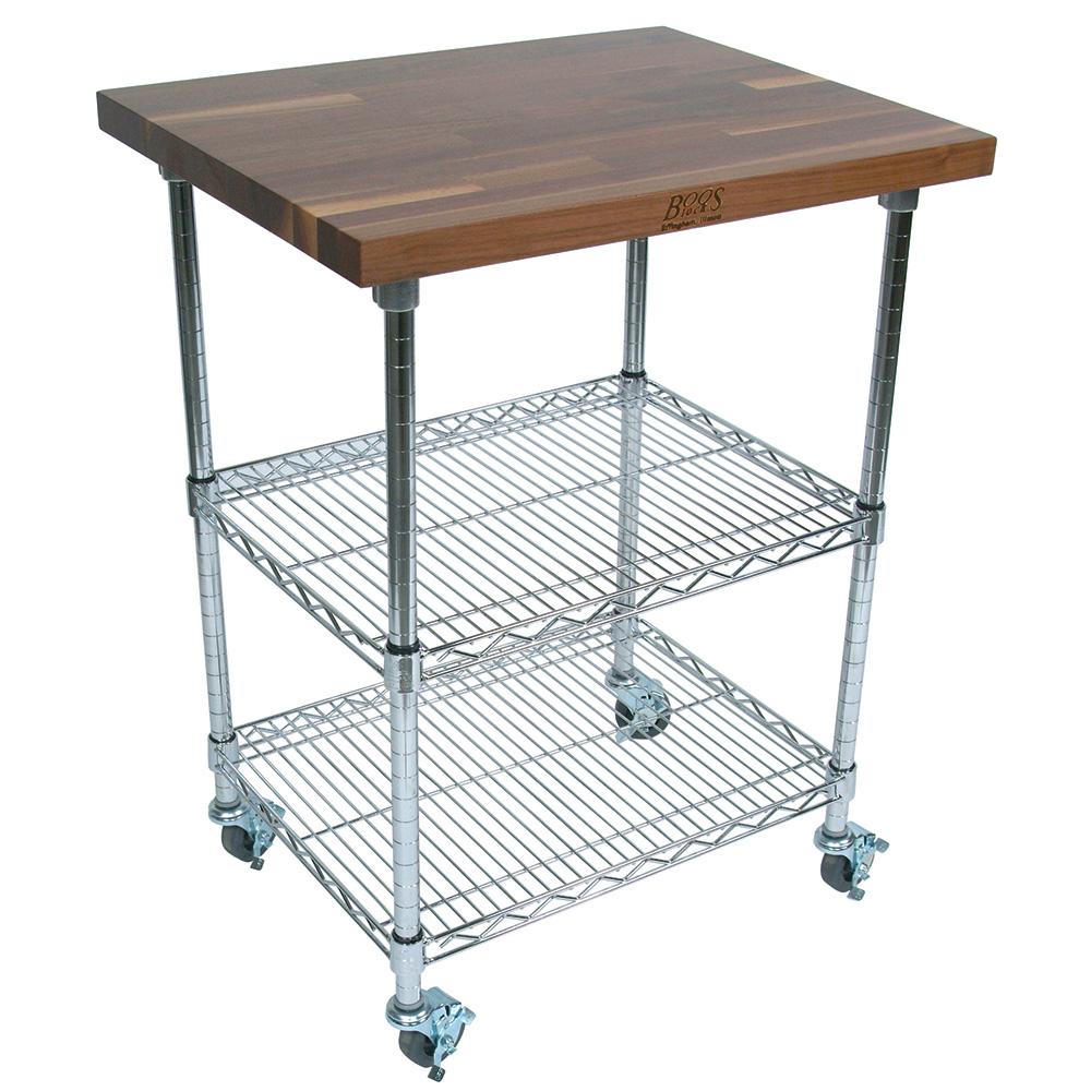 John Boos MET-WWCK-2 Mobile Cart - Walnut Top, Adjustable Shelves, 21x33x36&