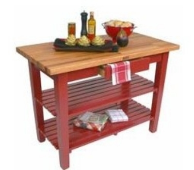 John Boos OC3625 2S BN American Heritage Oak C Table, 2-Shelves, 36 x 35-in H, Barn Red