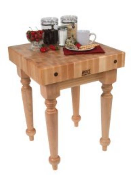 John Boos SARB1-MC Block Table w/ 4-in Hard Rock Maple Top, Casters, 24 x 24-in