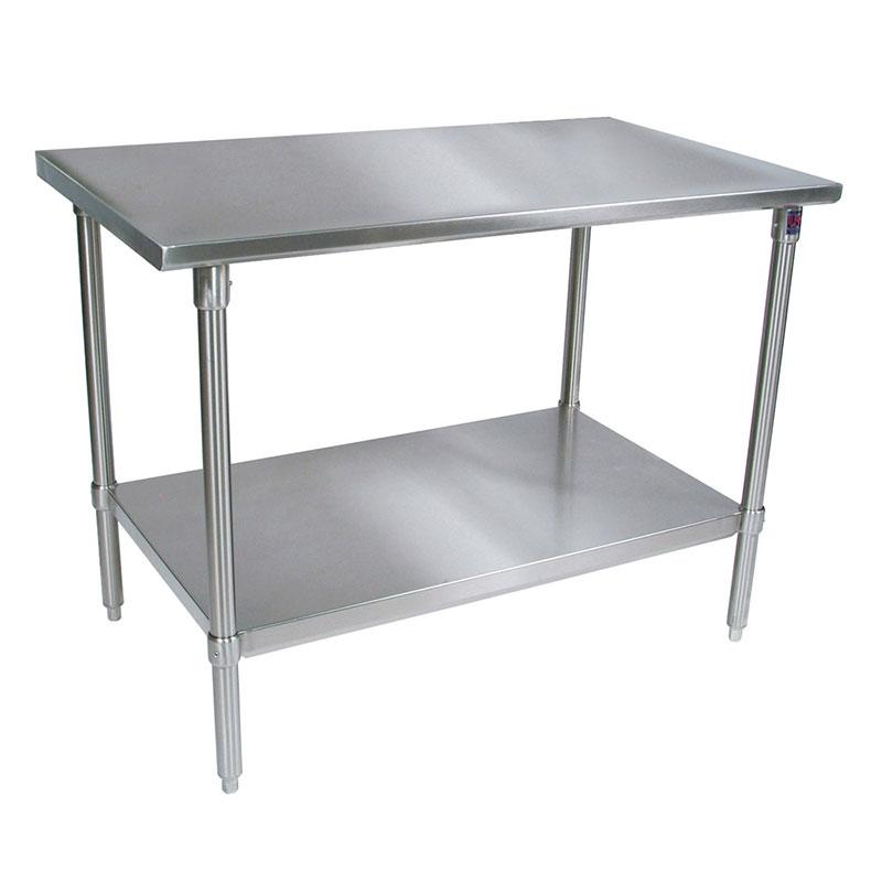 John Boos ST6-3096GBK Flat Top Work Table w/ Galvanized Bracing, Stainless Top, 96 x 30