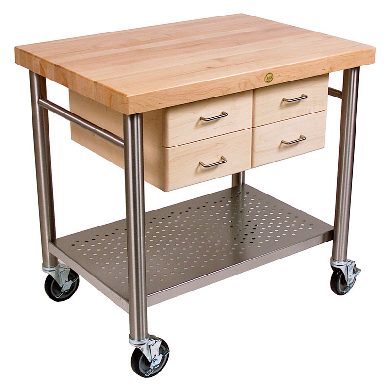 John Boos VEN3626 Cucina Venito Cart, 26 x 36 x 35 in H, S/S Shelf, Maple Drawers, Varnique