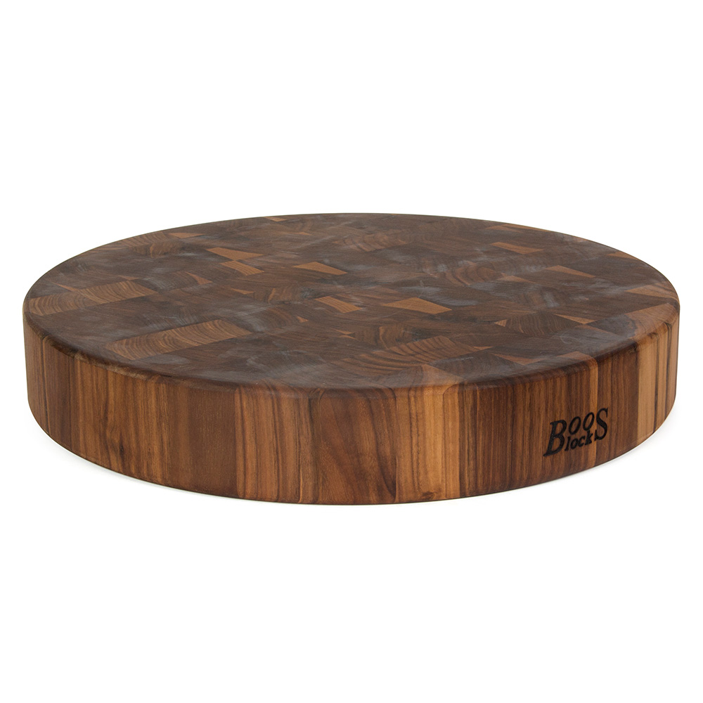 John Boos WAL-CCB183-R Walnut Chopping Block, Non-Reversible, End Grain, 18 in Dia x 3 in Thick