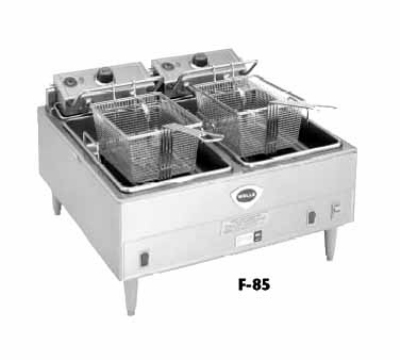 Wells F-85 480 30-lb Fryer w/ Dual Pots & Safety Test, Thermostatic, 480/3 V