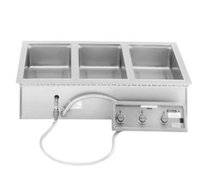Wells MOD-300TDM 3-Pan Built In Food Warmer w/ Thermostatic Controls, Drains