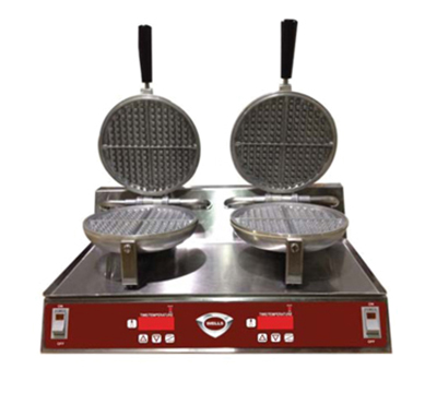 Wells WB2C Double Round Waffle Baker - Electronic Controls, Aluminum Grids, Stainless, 120v