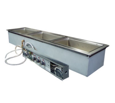 Wells MOD-300TDMN Narrow Built In Food Warmer w/ Manifold Drains, 3-Pan, 208/240/3 V
