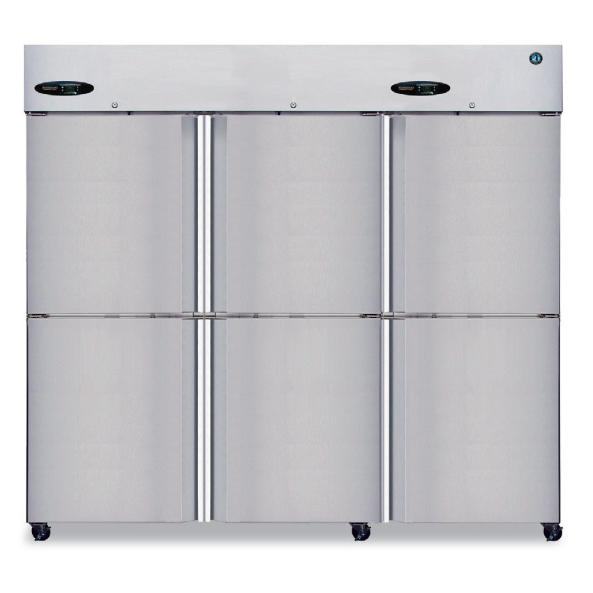 Hoshizaki CR3B-HS Reach-In Refrigerator w/ 6-Solid Half Door, Stainless, 74.3-cu ft