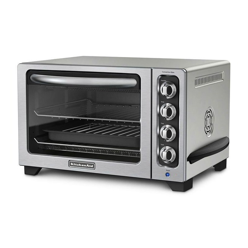 KitchenAid KCO223CU Countertop Convection Oven w/ Timer & Non-Stick Interior, Silver