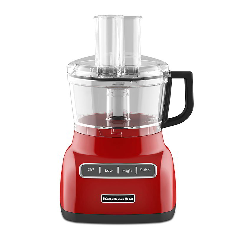 KitchenAid KFP0711ER 7-cup Food Processor - 3-Speed, Work Bowl, Discs, Feed Tube, Red
