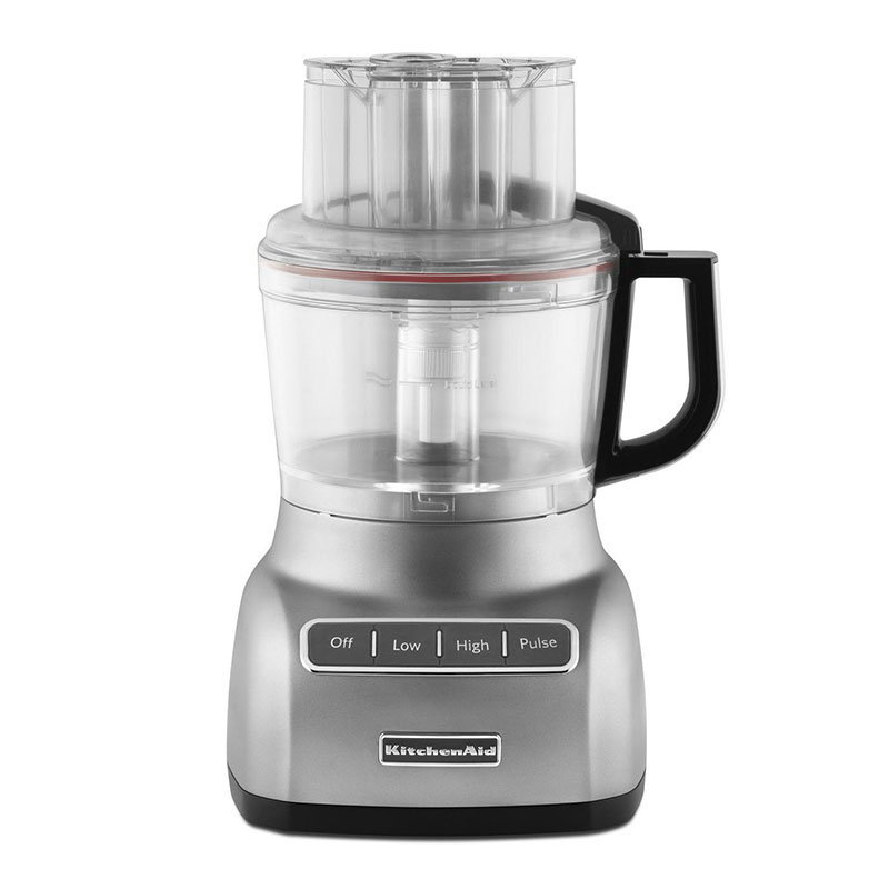KitchenAid KFP0922CU 9-Cup Food Processor w/ Mini Bowl, Contour Silver
