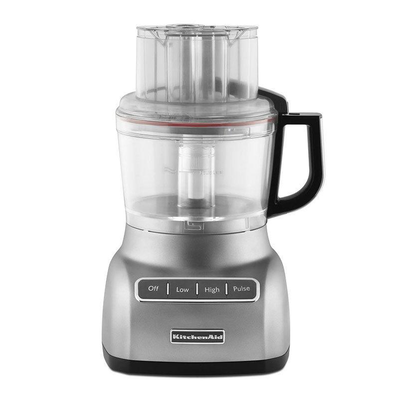 KitchenAid KFP0922CU 9-Cup Food Processor w/ Mini Bowl, Contour Silver