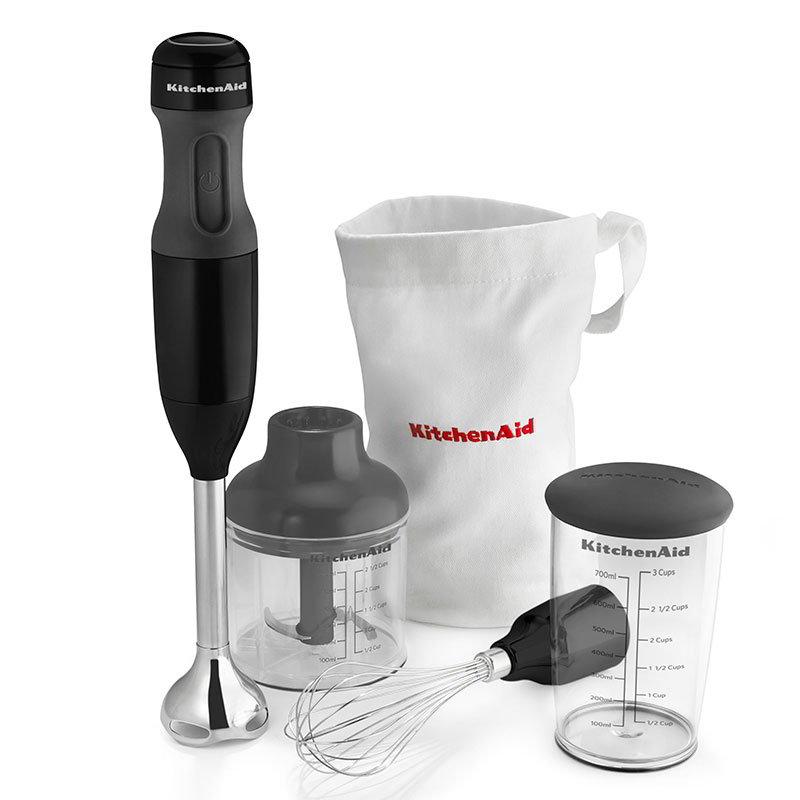 KitchenAid KHB2351OB 3-Speed Hand Blender w/ 2.5-Cup Chopper & Whisk, Onyx Black