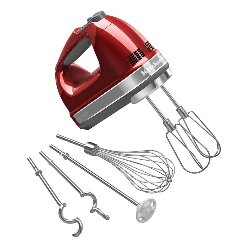 KitchenAid KHM926CA 9-Speed Hand Mixer w/ Grip Handle & Accessories Set, Candy Apple Red