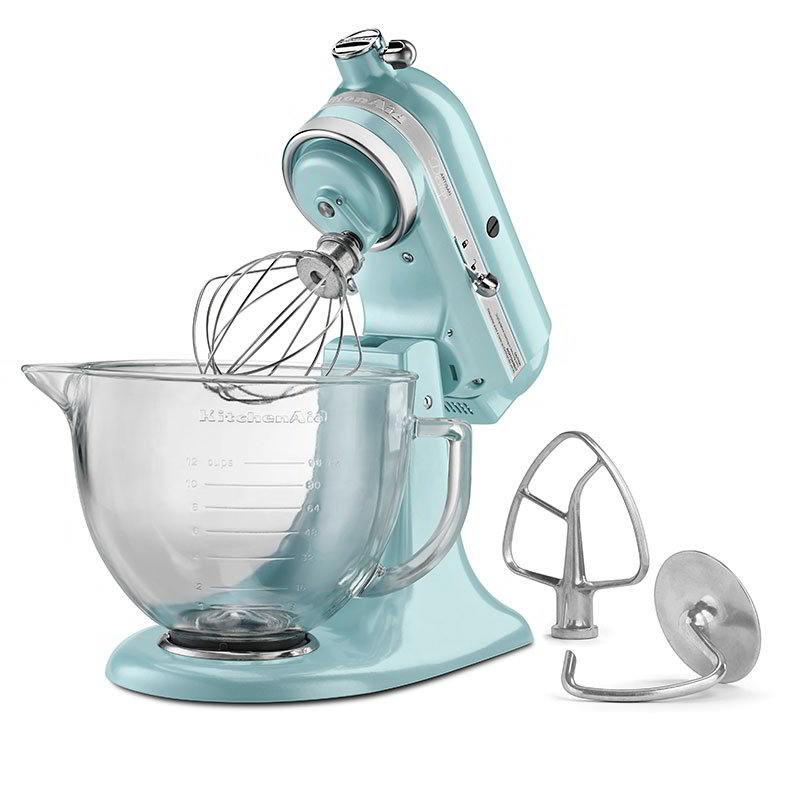 KitchenAid KSM155GBAZ Artisan Design Series Stand Mixer w/ 5-qt Glass Bowl, Azure Blue