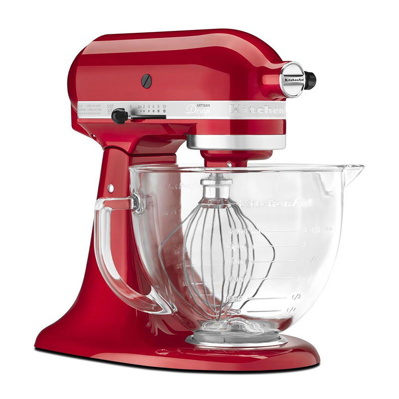 KitchenAid KSM155GBCA Artisan Design Series Stand Mixer w/ 5-qt Glass Bowl, Apple Red