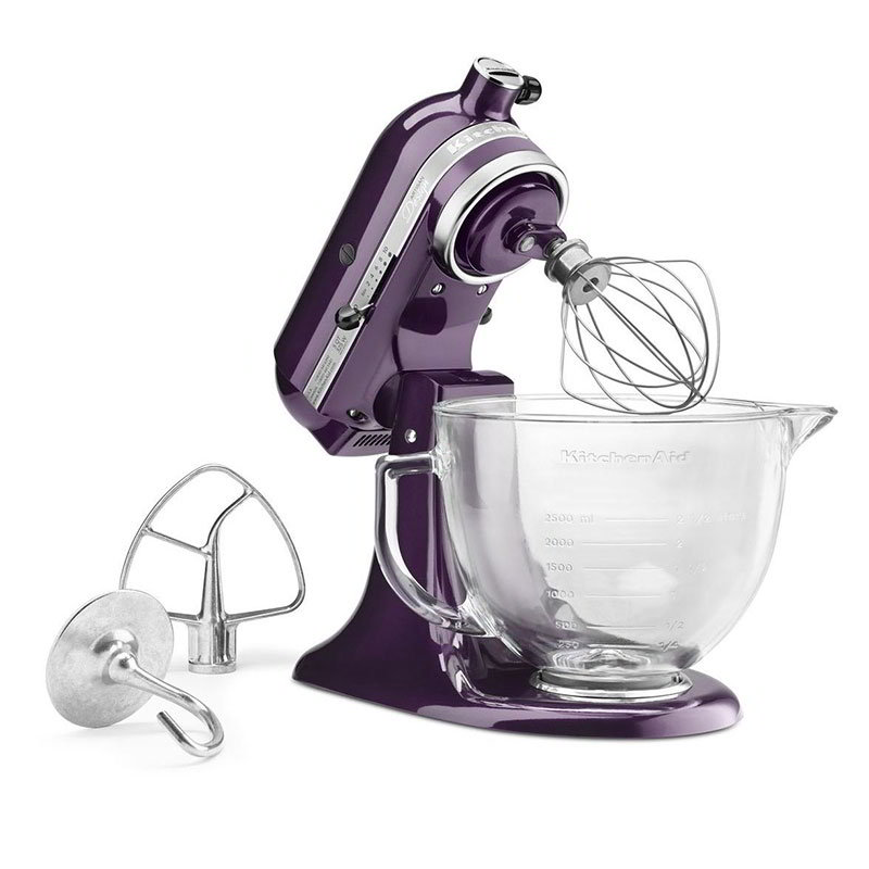 KitchenAid KSM155GBPB Artisan Design Series Stand Mixer w/ 5-qt Glass Bowl, Plumberry