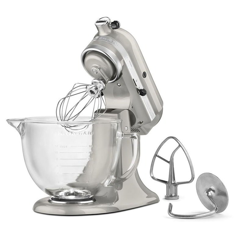 KitchenAid KSM155GBSR Artisan Design Series Stand Mixer w/ 5-qt Glass Bowl, Sugar Pearl