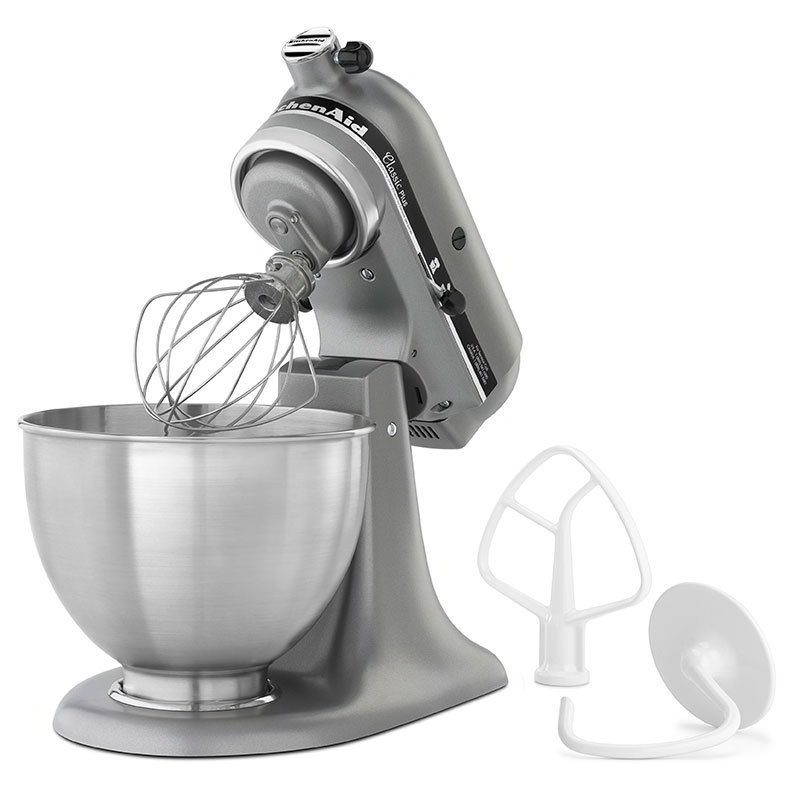 KitchenAid KSM75SL 4.5-qt Classic Plus Stand Mixer - Tilt-Head Design, 10-Speed, Silver