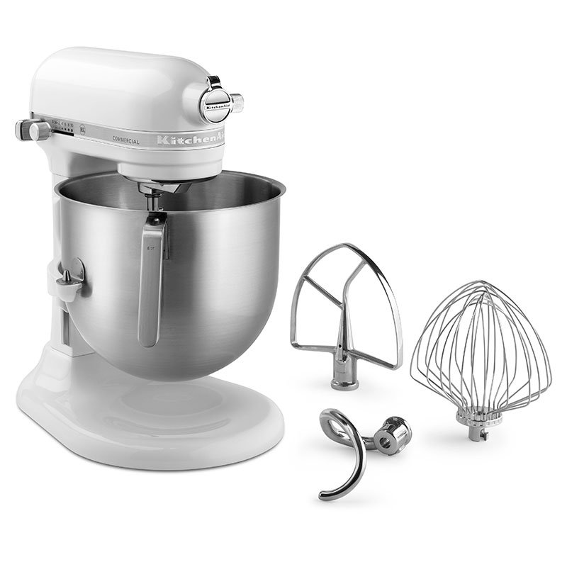 KitchenAid KSM8990WH 8-qt Bowl Lift Stand Mixer w/ 1.3-HP Motor & Accessory Set, White
