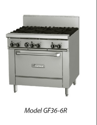 Garland GF36-6T LP GF Starfire Pro Series Restaurant Range, 36 in, 6 Burners, Modular, LP