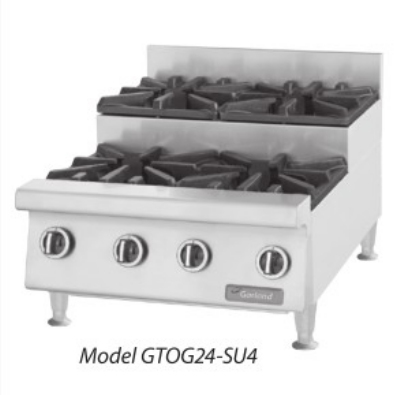 Garland GTOG48-SU8 NG 48 in Countertop Step-Up Hotplate, 8 Open Burners, Manual Control, NG