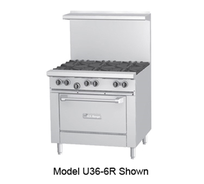 "Garland U36-4G12R-LP 36"" 4-Burner Gas Range with Griddle, LP"