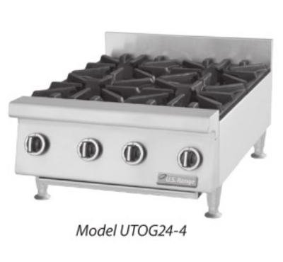 Garland UTOG48-8 LP 48 in Countertop Hotplate, 8 Open Burners, Manual Control, LP