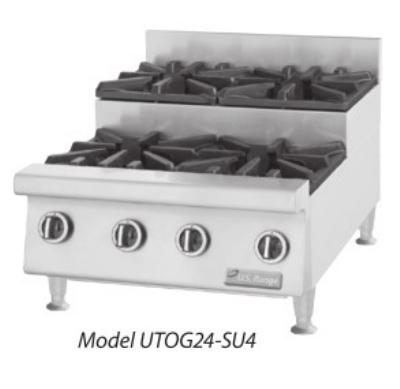 Garland UTOG48-SU8 NG 48 in Countertop Step-Up Hotplate, 8 Open Burners, Manual Control, NG