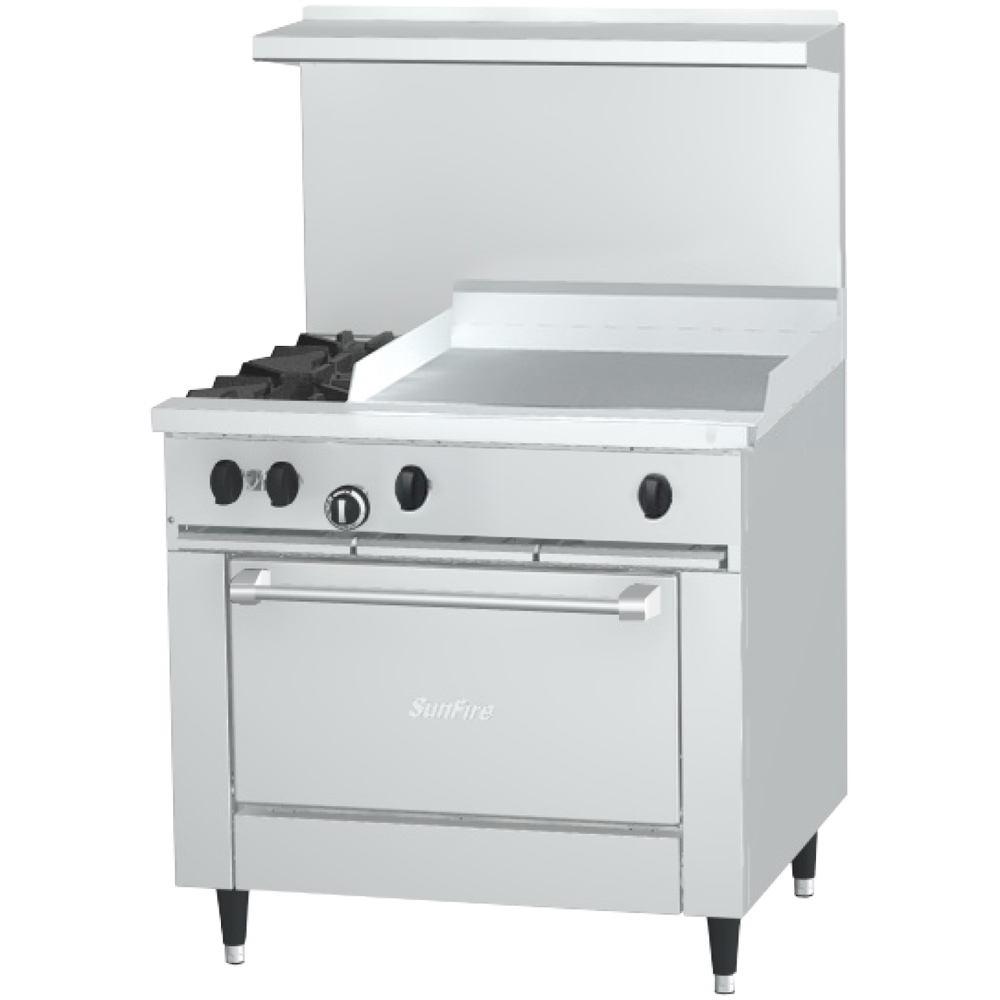 "Garland X36-2G24R-NG 36"" Sunfire 2-Burner Gas Range with Griddle, NG"