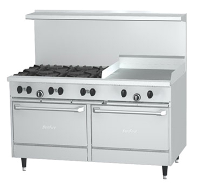 "Garland X60-6G24RR-LP 60"" Sunfire 6-Burner Gas Range with Griddle, LP"