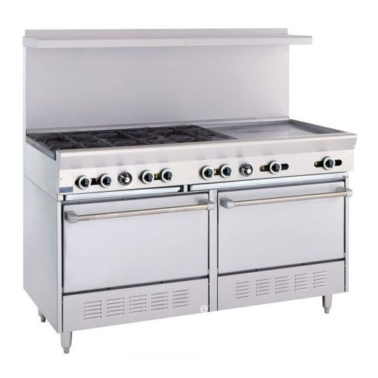 "Garland X606G24RSLP 60"" Sunfire 6-Burner Gas Range with Griddle, LP"