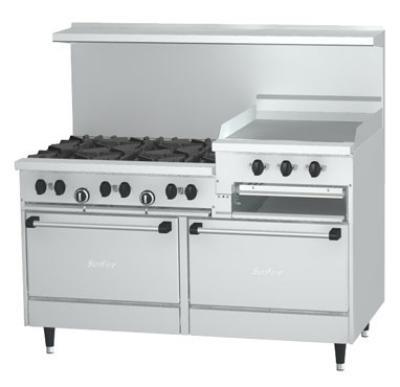 Garland / US Range X606R24RRLP SunFire Series Restaurant Range 60 in 6 Burners Broiler/Griddle 2 Ovens Restaurant Supply
