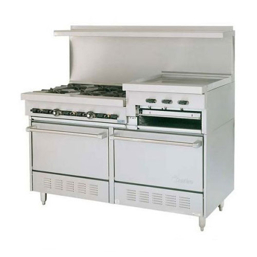 "Garland X60-6R24RS 60"" Sunfire 6-Burner Gas Range with Griddle & Broiler, NG"