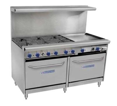 """Bakers Pride 60-BPV-6B-24G-S26 60"""" 6-Burner Gas Range with Griddle, LP"""