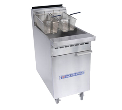 Bakers Pride BPF-4050 NG (3) 50 lb Fryer w/ Baskets, NG