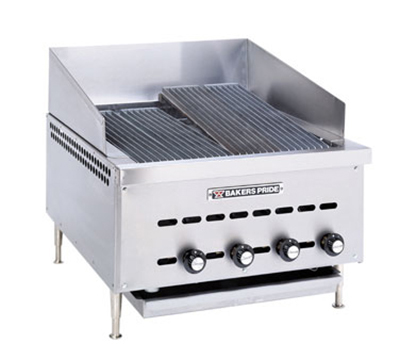 "Bakers Pride XXE-4 21"" Counter Model Charbroiler w/ Radiants, Cast Iron Grates, NG"