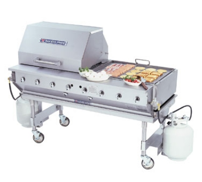 Bakers Pride CBBQ60S LP 60-in Outdoor Charbroiler w/ Stainless Stand, Casters, LP