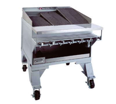 Bakers Pride CH14GS NG 73-1/2 in Extra Heavy Duty Charbroiler, Floor Model, Glo-Stones, NG