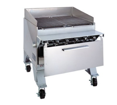 Bakers Pride CH6J NG 31-1/2 in Extra Heavy Duty Cajun Charbroiler, Floor Model, Radiant, NG
