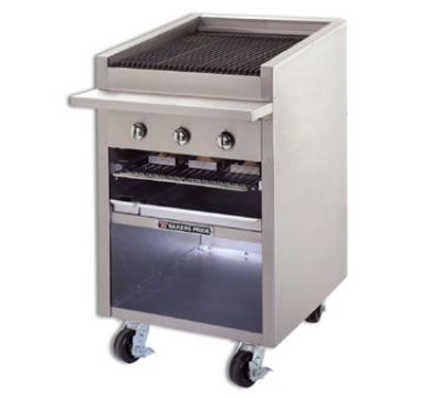 Bakers Pride F24GS NG 24 in Charbroiler, 75,000 BTU, Floor Model, Glo-Stone, NG
