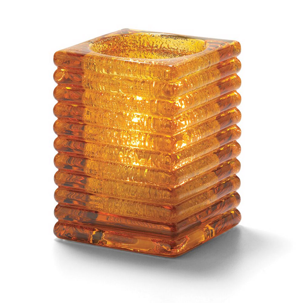 Hollowick 1511AJ Horizontal Rib Block Lamp, Amber Jewel, Glass, 4-
