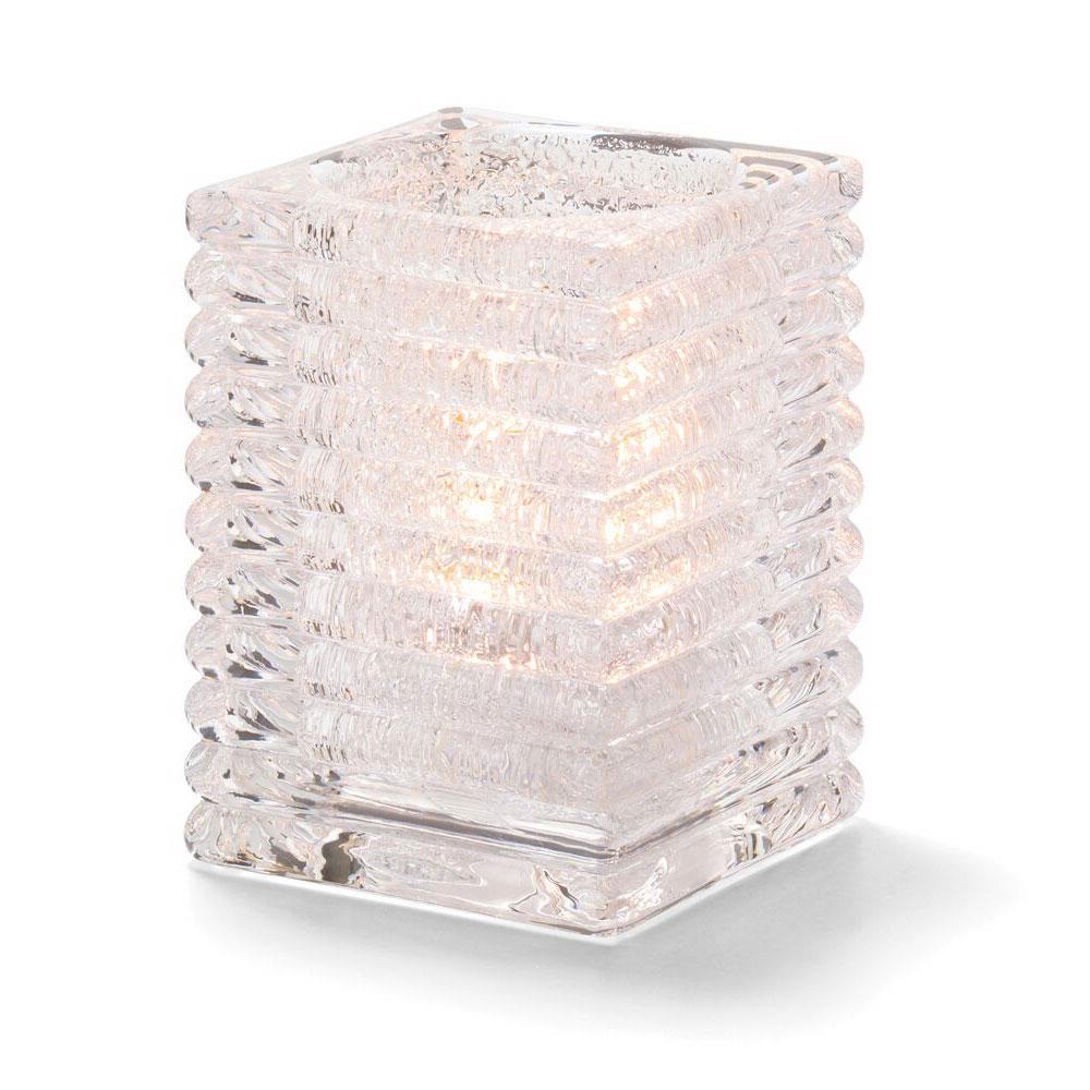 Hollowick 1511CJ Horizontal Rib Block Lamp, Clear Jewel, Glass, 4-1/8 in H x 2-7/8 in dia.