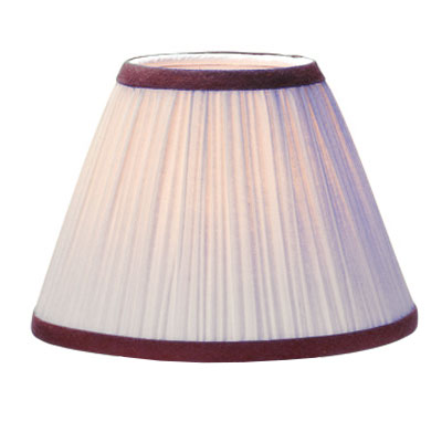 Hollowick 296I_BG Pleated Fabric Shade w/ Burgundy Trim, Ivory