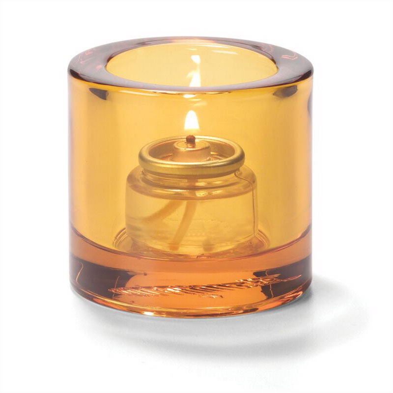 Hollowick 5140A Tealight Glass Lamp, Amber, Thick Glass, 2-7/8 in