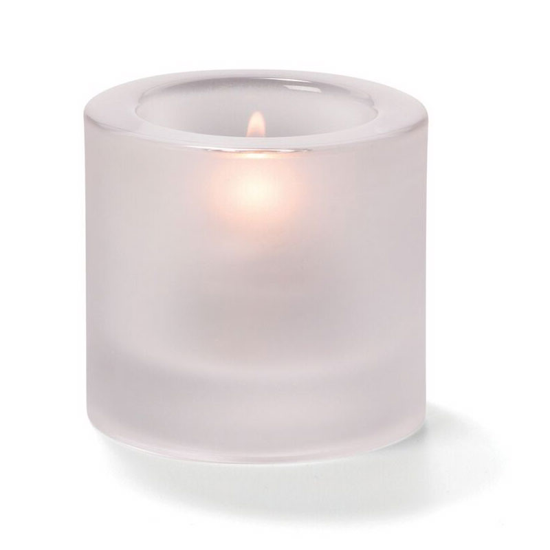Hollowick 5140F Tealight Glass Lamp, Satin Crystal, Thick Glass, 2-7/8 in H x