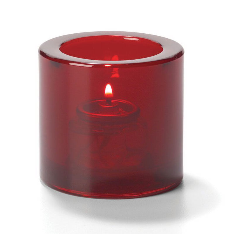 Hollowick 5140R Tealight Glass Lamp, Ruby, Thick Glass, 2-7/8 in H x 2-3/4 in dia.