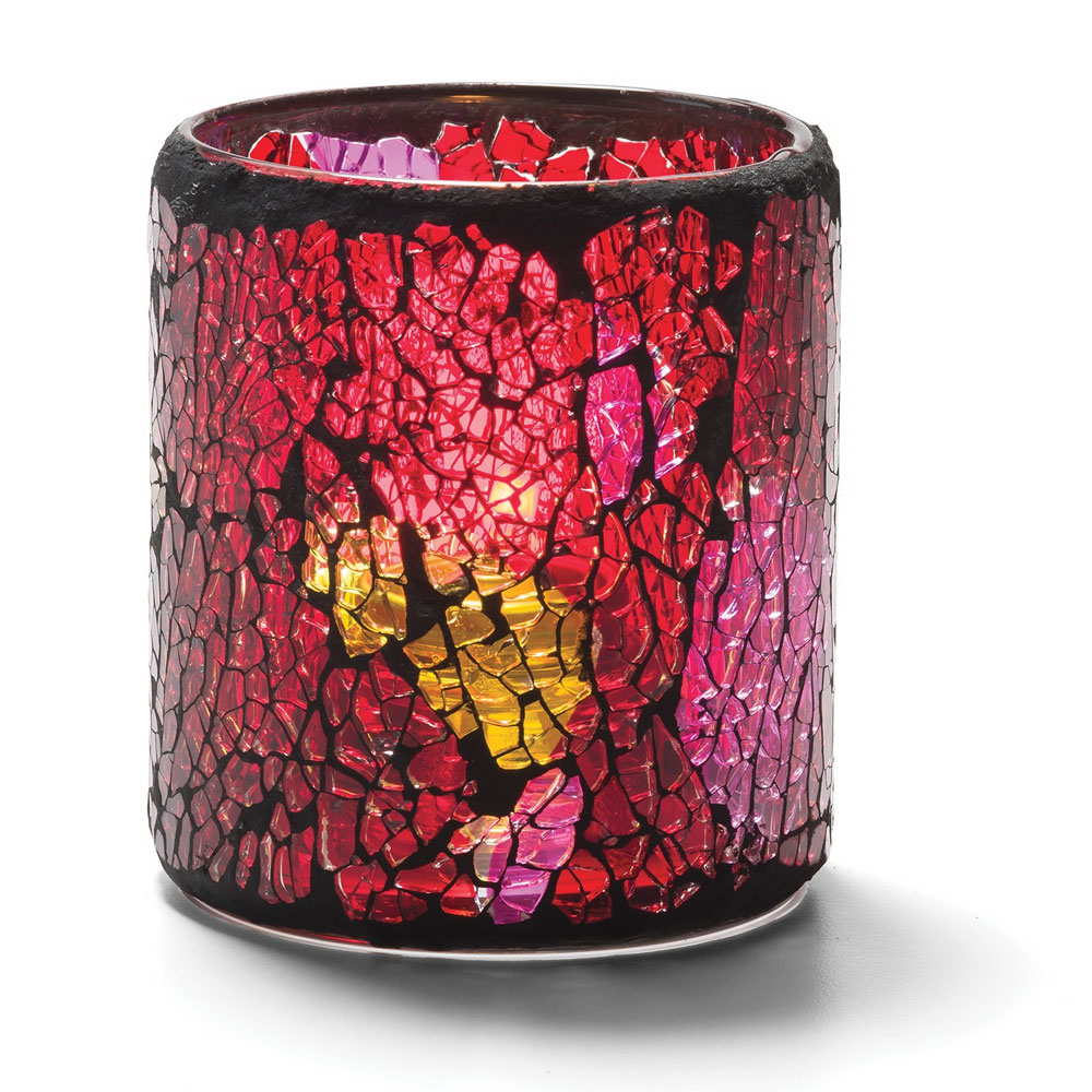 Hollowick 6301RG Crackle Votive Lamp For HD8, HD12 Or HD15, Red & Gold Glass