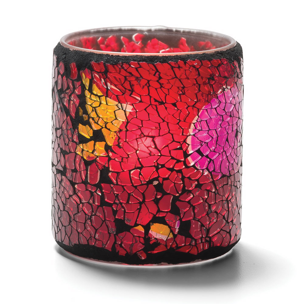 Hollowick 6351RG Crackle Votive Lamp For HD8, HD12 Or HD15, Red & Gold Frosted Glass
