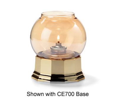 Hollowick 35G Fitter Globe For 3-in Fitter Base, 3.38x3.13-in, Glass, Gold Bubble