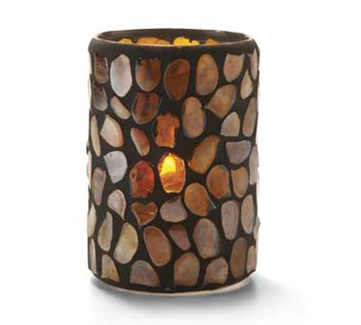 Hollowick 46017A Pebble Cylinder, 4.38x3-in, Glass, Amber Mosaic
